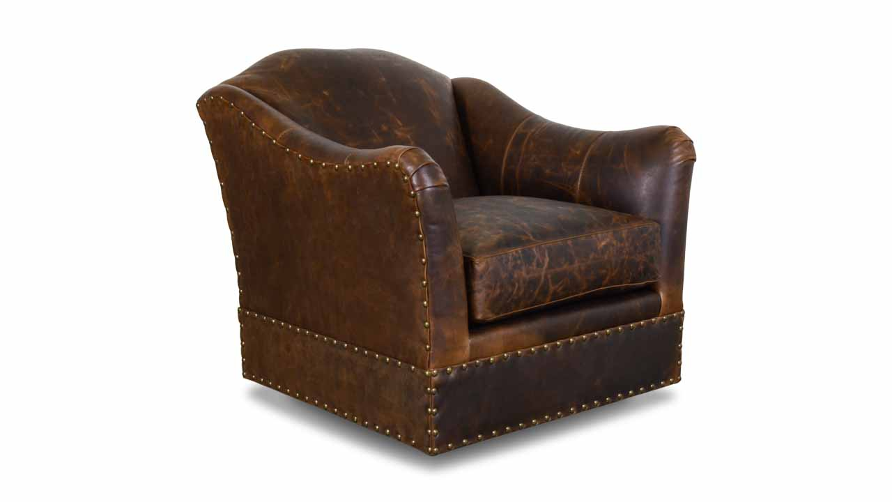 Cococo Home | Raleigh Leather Swivel Chair – Made In Usa Inside Espresso Leather Swivel Chairs (Image 11 of 25)