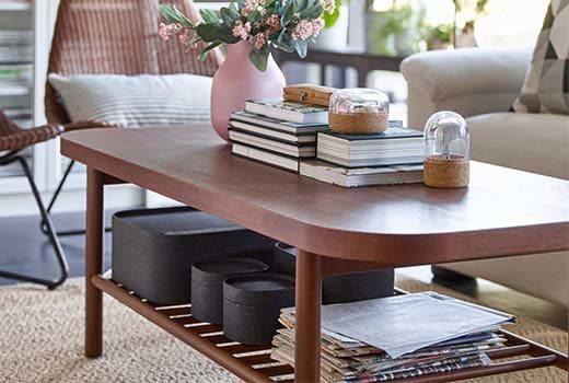 Coffee Tables & Console Tables – Ikea Intended For 2018 Oak & Brass Stacking Media Console Tables (View 14 of 25)