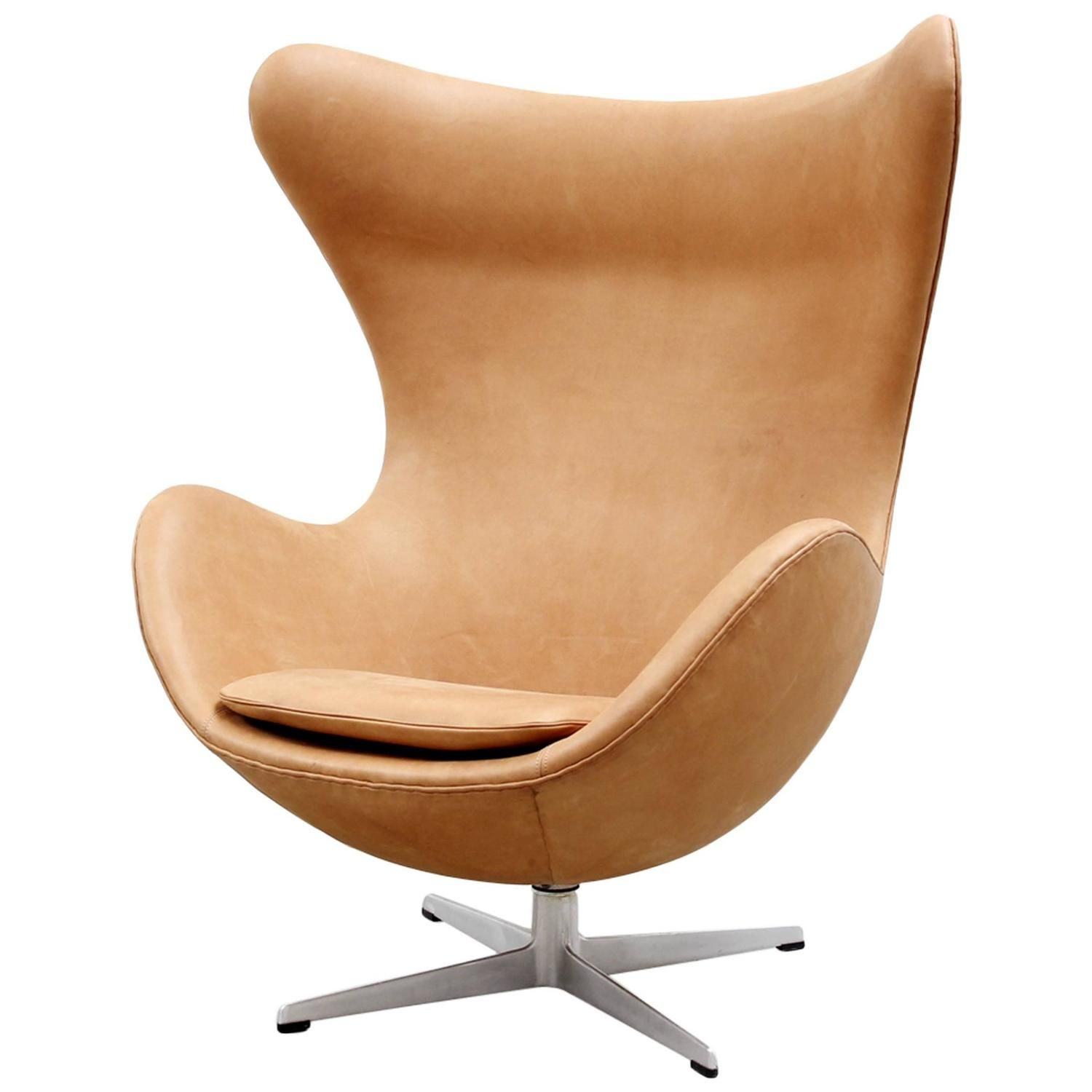 Cognac Leather Egg Chairarne Jacobsen For Fritz Hansen, 1966 Pertaining To Alder Grande Ii Swivel Chairs (View 12 of 25)