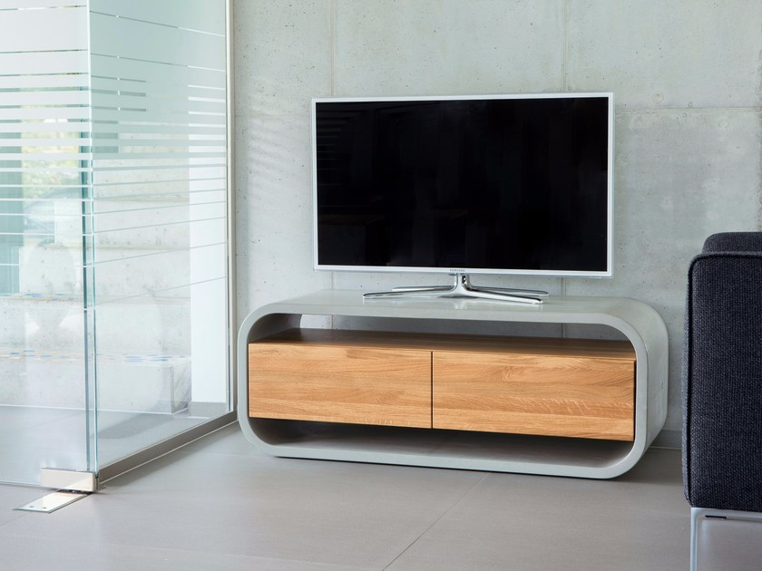 Concrete Sideboard / Tv Stand With Wood Insert Opus Videro Lignum Throughout Famous Sideboard Tv Stands (Image 4 of 25)