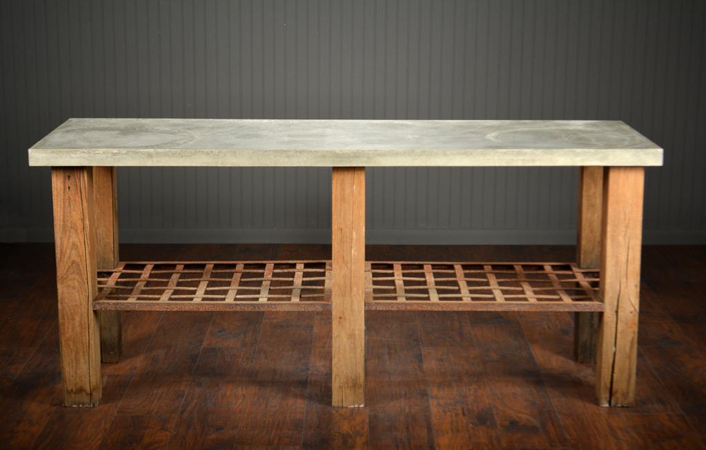 Concrete Top Console Table Extravagant Parsons Dark Steel Base 48X16 In Popular Parsons Concrete Top & Stainless Steel Base 48X16 Console Tables (Image 4 of 25)
