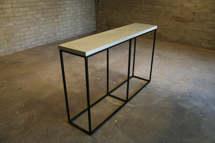 Concrete Top Console Table Incredible Parsons Dark Steel Base 48X16 Pertaining To Well Known Parsons Travertine Top & Dark Steel Base 48X16 Console Tables (Image 6 of 25)