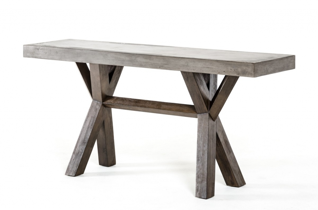 Concrete Top Console Table Incredible Parsons Dark Steel Base 48X16 With Regard To Most Popular Parsons Travertine Top & Dark Steel Base 48X16 Console Tables (Image 7 of 25)