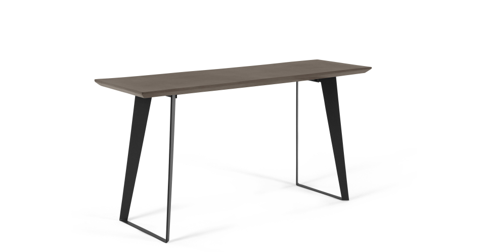 Concrete Top Console Table Monumental Parsons Dark Steel Base 48X16 Throughout 2017 Parsons White Marble Top & Brass Base 48X16 Console Tables (Image 2 of 25)