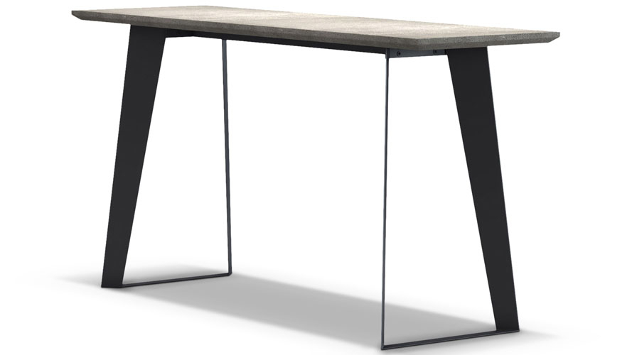 Concrete Top Console Table Monumental Parsons Dark Steel Base 48X16 Throughout Current Parsons White Marble Top & Stainless Steel Base 48X16 Console Tables (Image 6 of 25)