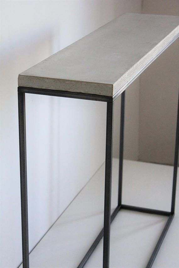Concrete Top Console Table Stunning Parsons Dark Steel Base 48X16 For Famous Parsons Concrete Top & Stainless Steel Base 48X16 Console Tables (Image 10 of 25)