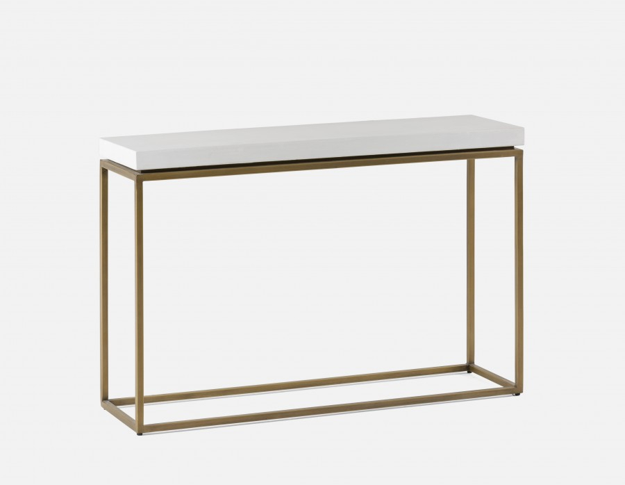 Concrete Top Console Table Stunning Parsons Dark Steel Base 48X16 Throughout Newest Parsons Concrete Top & Brass Base 48X16 Console Tables (Image 9 of 25)