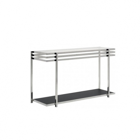 Console Table With Glass Top And Geometric Chrome Base 36 Era With Most Popular Era Glass Console Tables (View 6 of 25)