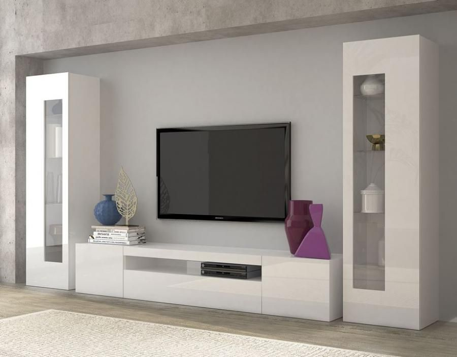 Contemporary Aquila Tv And Display Wall Unit In White Gloss Finish With 2018 Black Gloss Tv Wall Unit (Image 4 of 25)