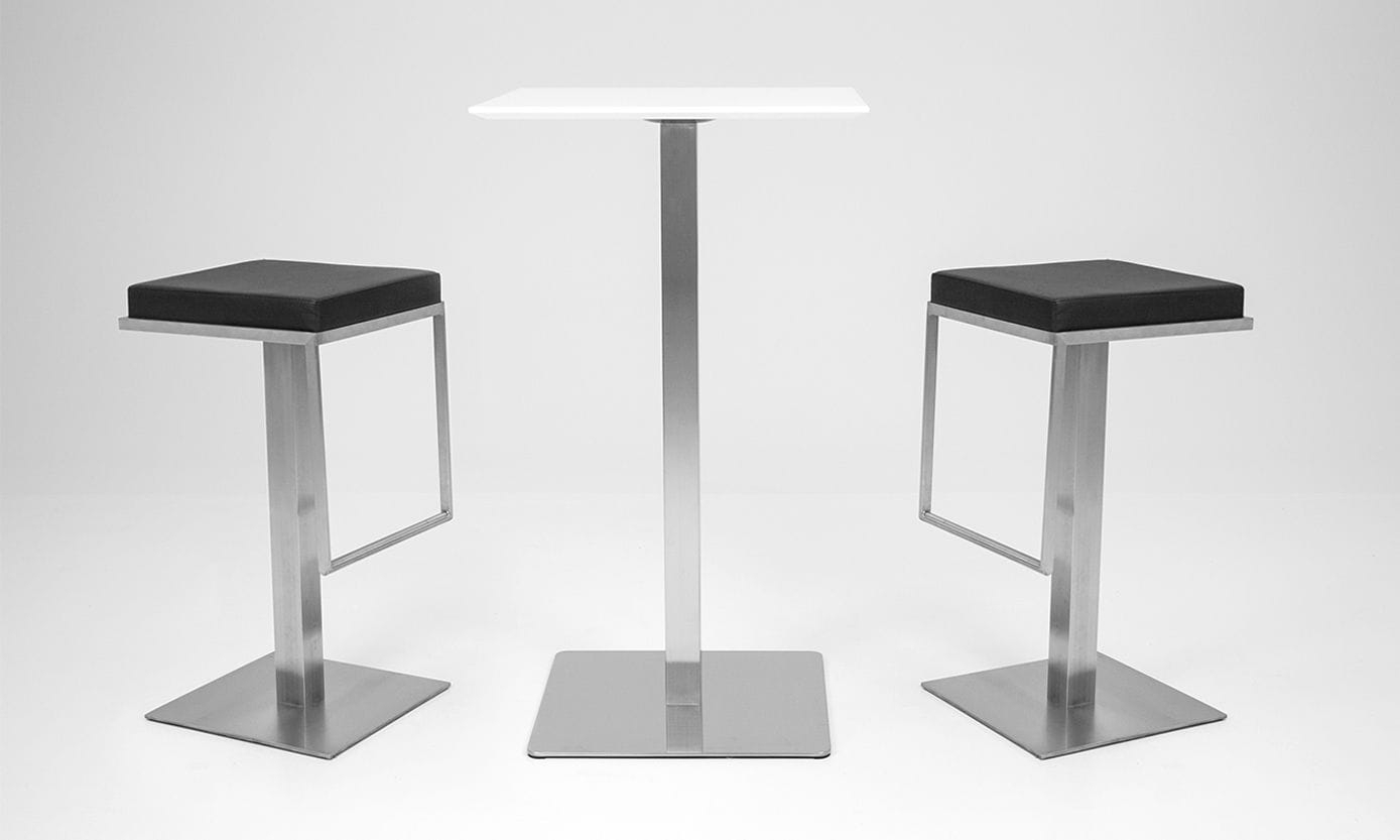 Contemporary Bar Stool / Stainless Steel / Polyurethane / Central Inside Chill Swivel Chairs With Metal Base (Image 10 of 25)