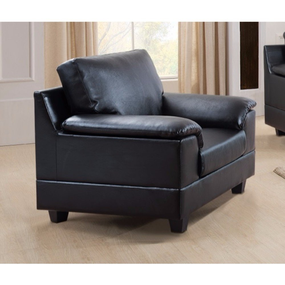 Contemporary Bonded Pu Leather Chair With Tuft Cushion (Image 14 of 25)