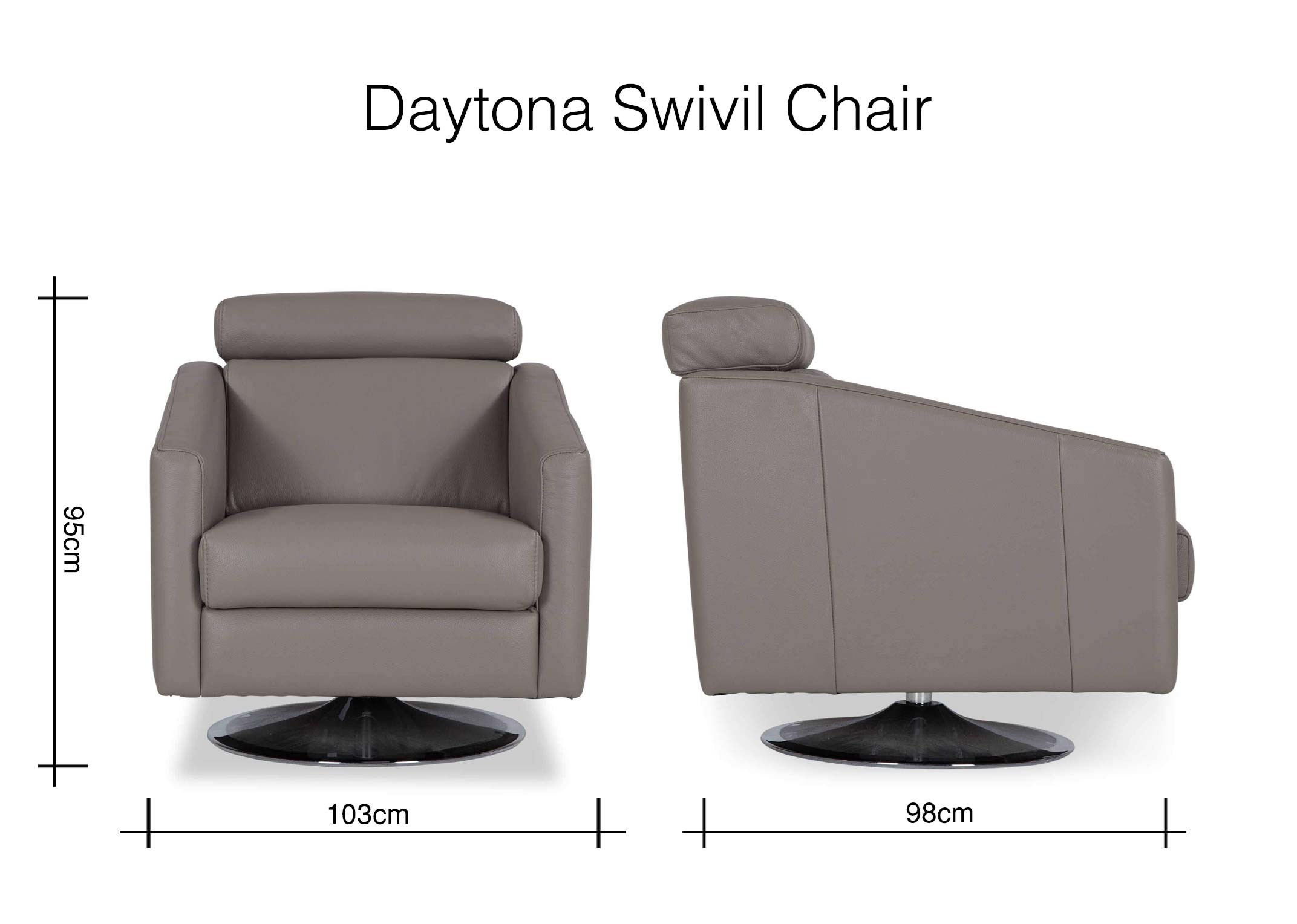 Contemporary Genuine Grey Leather Swivel Armchair – Daytona – Ez With Grey Swivel Chairs (View 4 of 25)