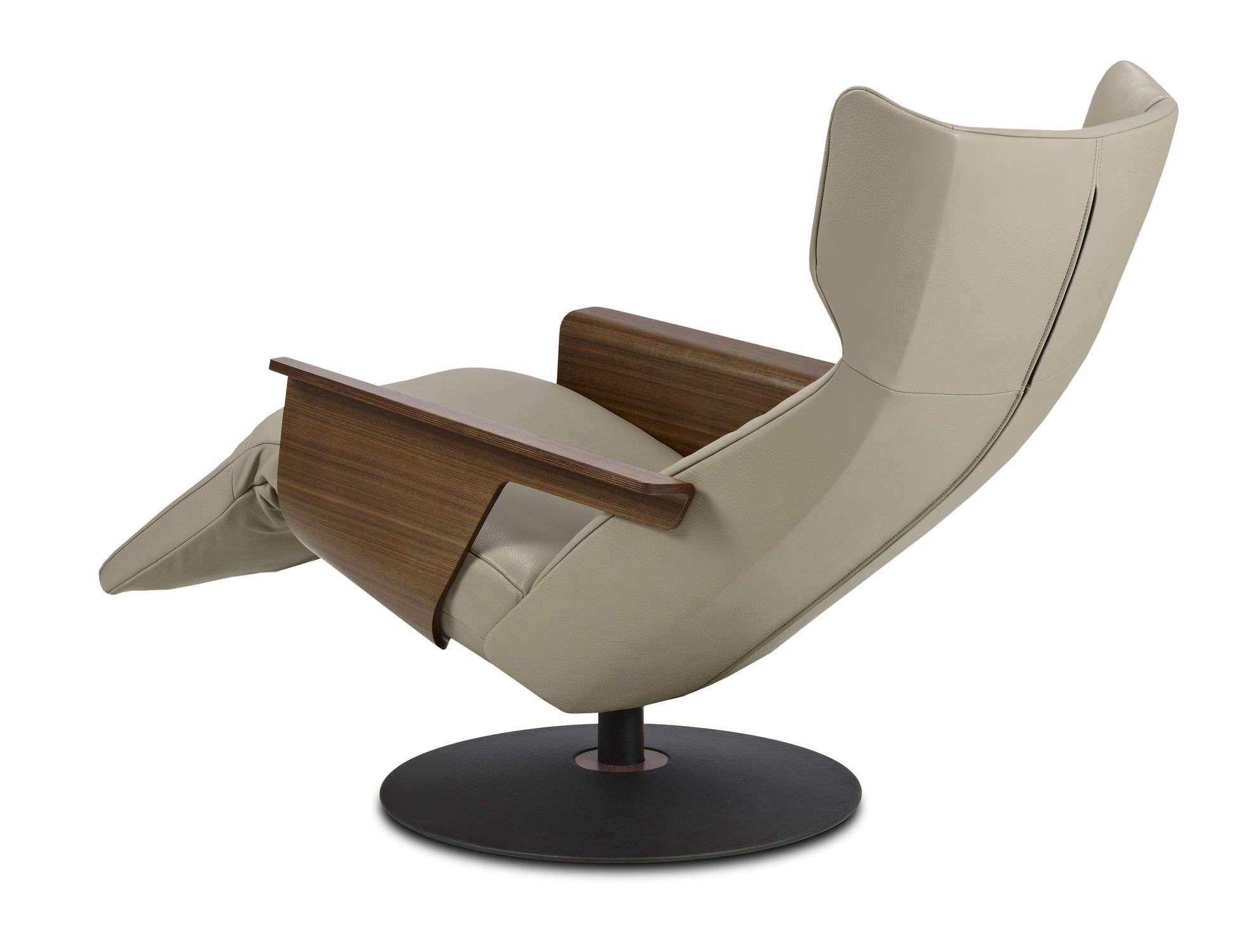 Contemporary Leather Recliner Armchair With Footstool – Orea In Katrina Beige Swivel Glider Chairs (View 16 of 25)