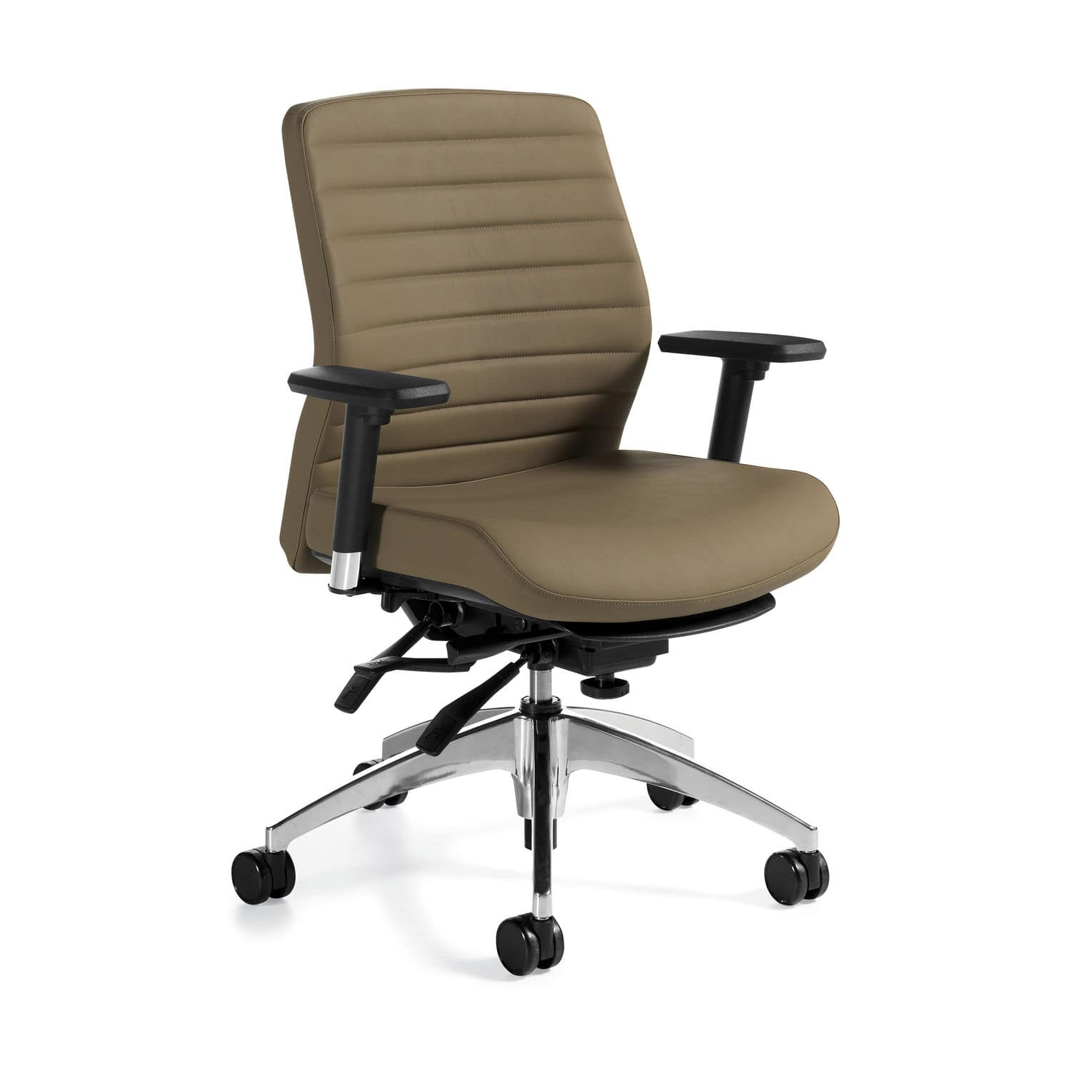 Contemporary Office Armchair / Polyurethane / Leather / Swivel With Regard To Aspen Swivel Chairs (View 9 of 25)