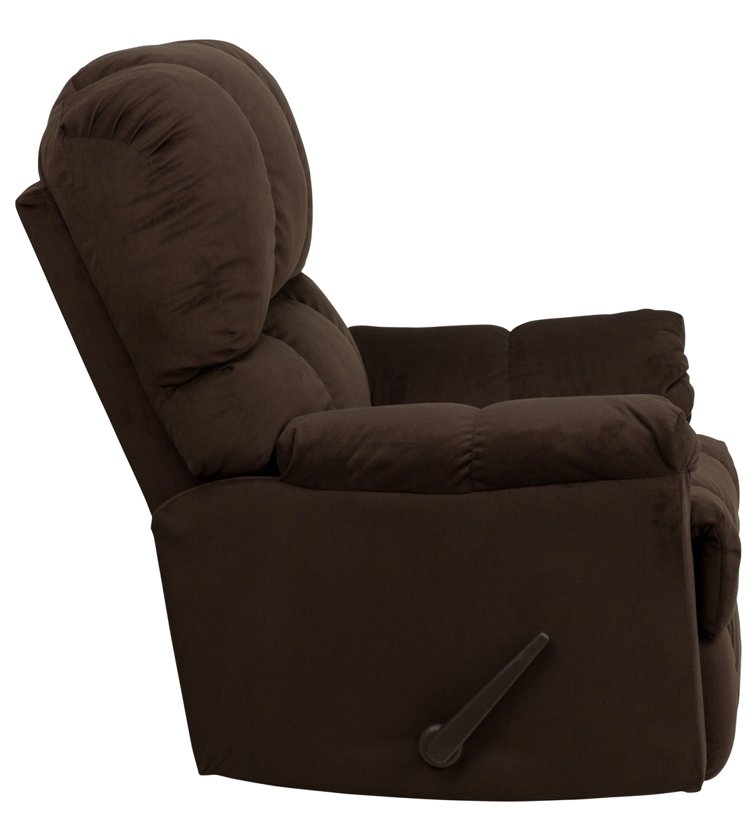 Contemporary Top Hat Chocolate Microfiber Rocker Recliner intended for Hercules Chocolate Swivel Glider Recliners