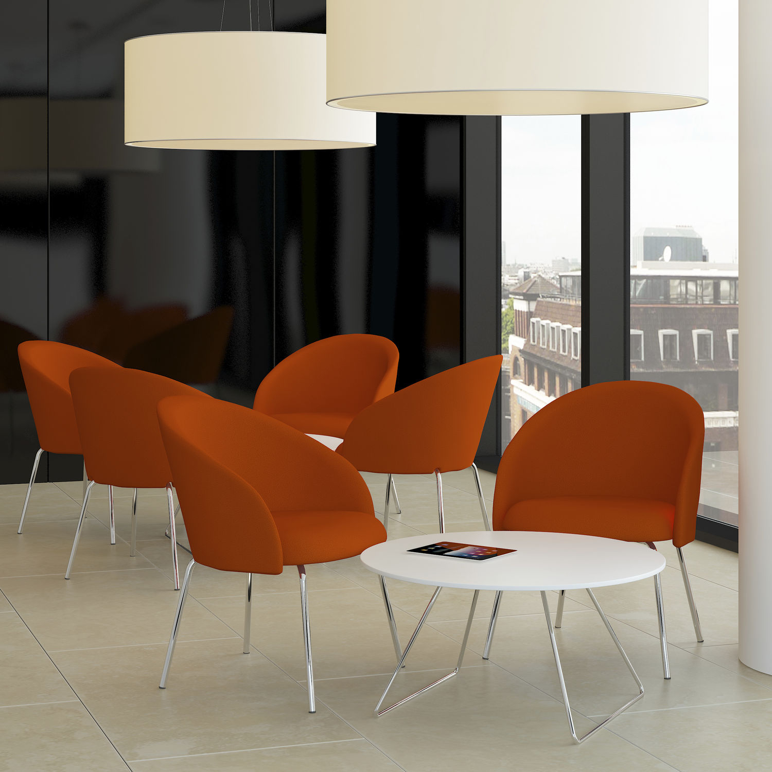 Contemporary Visitor Armchair / Fabric / Chrome Steel – Chill – Komac With Chill Swivel Chairs With Metal Base (Image 12 of 25)
