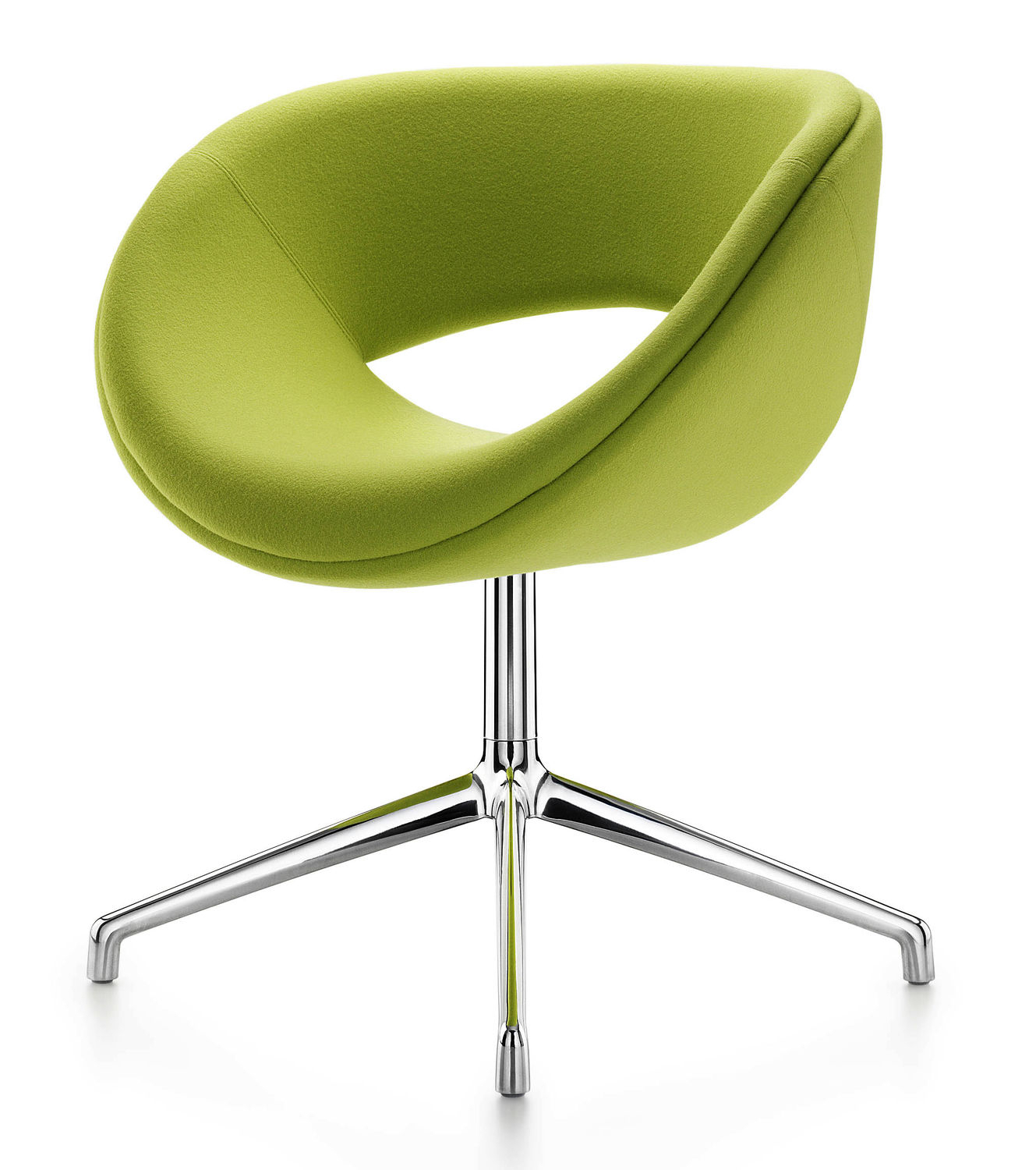 Contemporary Visitor Armchair / Fabric / Chrome Steel / Swivel Within Chill Swivel Chairs With Metal Base (Image 14 of 25)