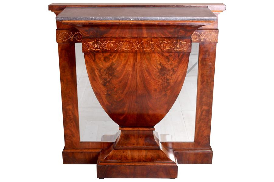 Continental Inlaid Mahogany Marble Topped Console Table Circa 1900 With Most Current Orange Inlay Console Tables (Image 5 of 25)