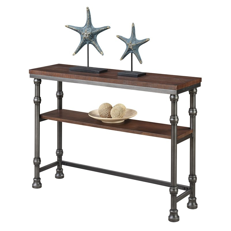 Convenience Concepts Yukon Console Table In Dark Rustic Oak And Inside Most Recently Released Yukon Grey Console Tables (Image 5 of 25)