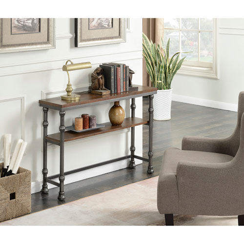 Convenience Concepts Yukon Dark Rustic Oak Console Table 171199 Pertaining To 2018 Yukon Natural Console Tables (Image 6 of 25)
