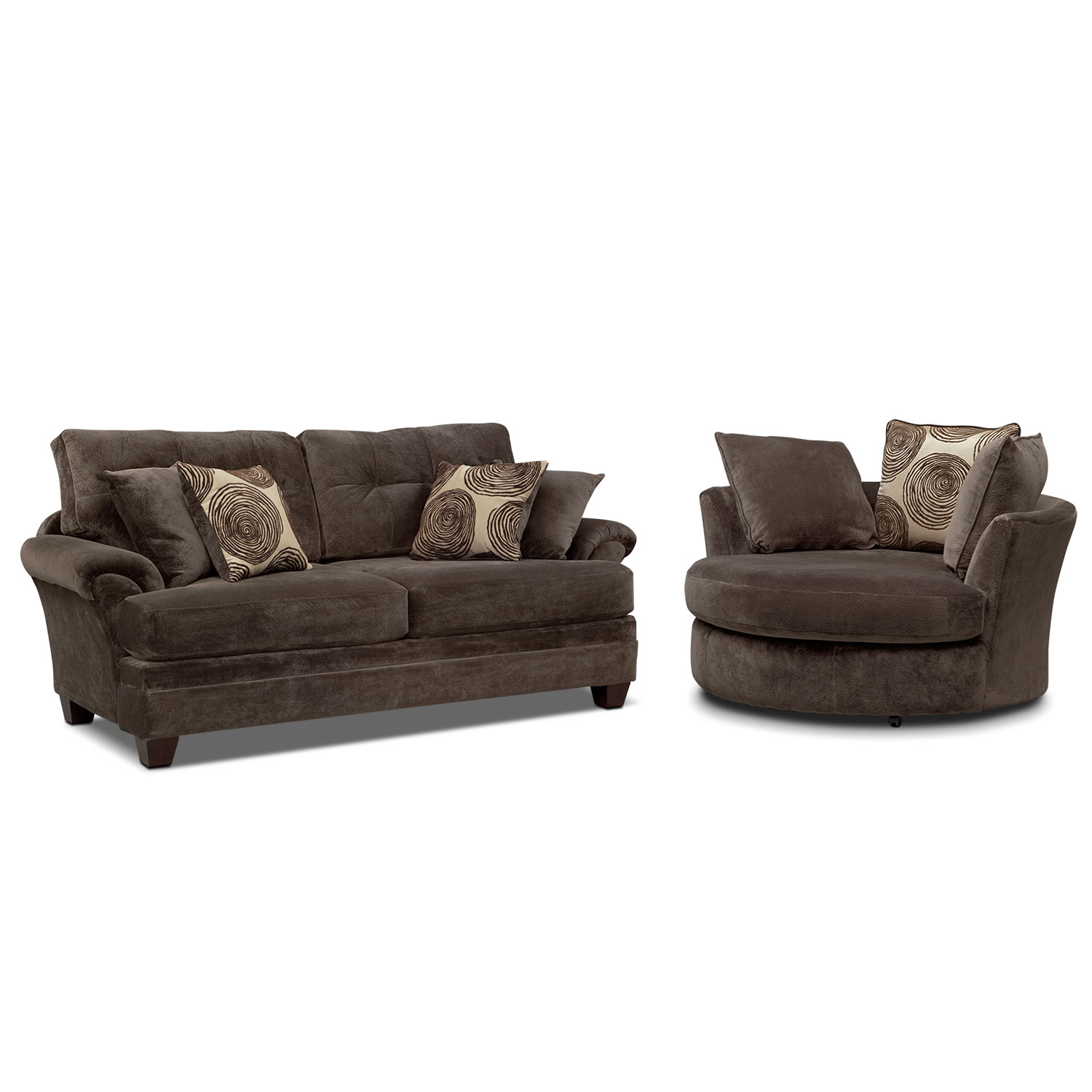 Cordelle Sofa And Swivel Chair Set | Value City Furniture And Mattresses Regarding Chocolate Brown Leather Tufted Swivel Chairs (View 17 of 25)