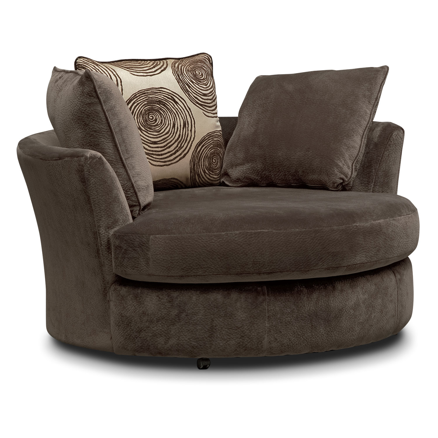 Cordelle Sofa, Loveseat And Swivel Chair Set | American Signature Inside Chocolate Brown Leather Tufted Swivel Chairs (View 22 of 25)