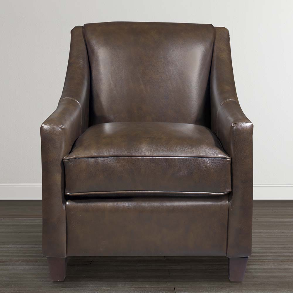 Corinna Leather Accent Chair | Bassett Furniture Within Bailey Angled Track Arm Swivel Gliders (Image 9 of 25)