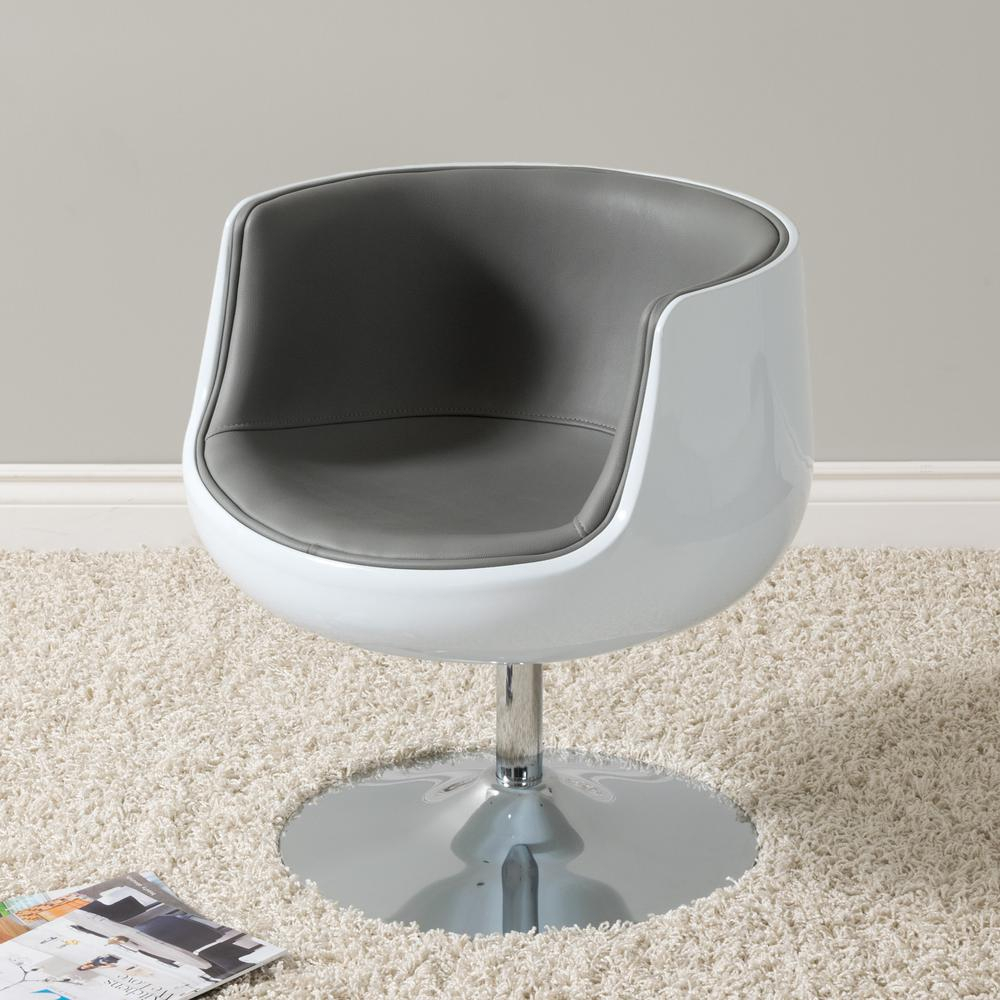Corliving Mod Modern Grey And White Bonded Leather Swivel Barrel Within Grey Swivel Chairs (View 21 of 25)