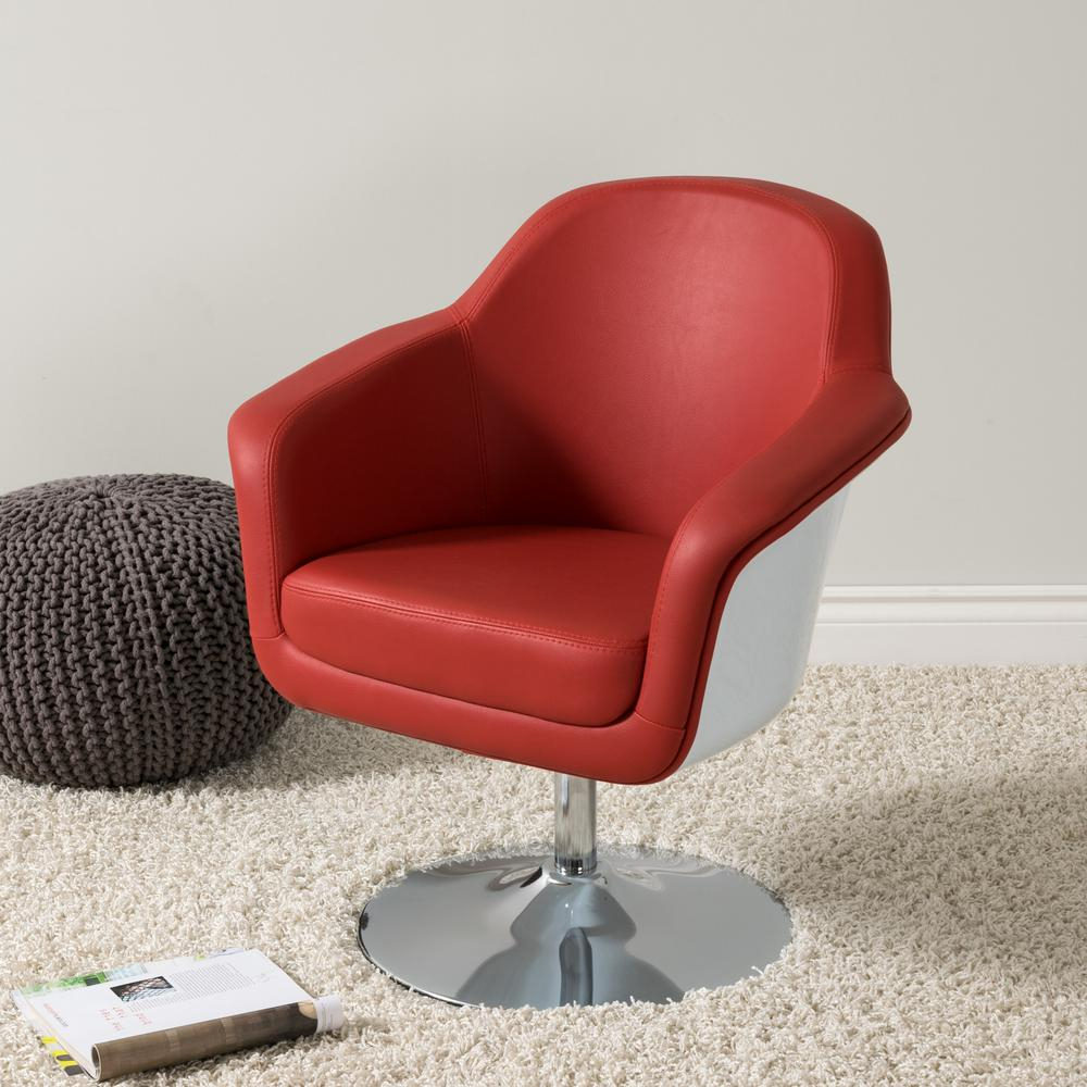 Corliving Mod Modern Red And White Bonded Leather Accent Chair Dln For Loft Black Swivel Accent Chairs (View 15 of 25)