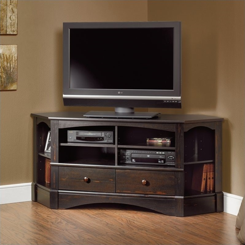 Corner Tv Stand In Antiqued Black – 402902 With Regard To Most Current 55 Inch Corner Tv Stands (View 2 of 25)