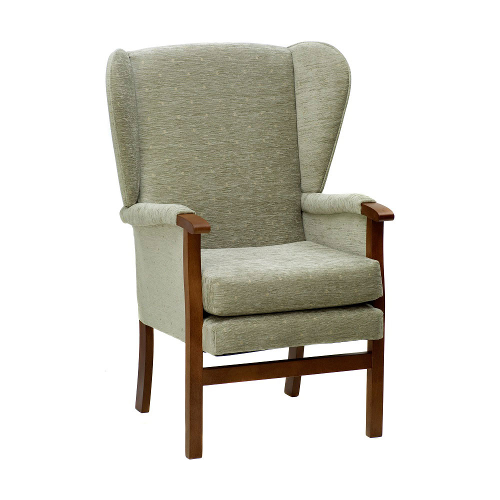 Coronation Classic Styled High Back Wing Chair | Alpha Furniture In Aquarius Dark Grey Sofa Chairs (Image 12 of 25)