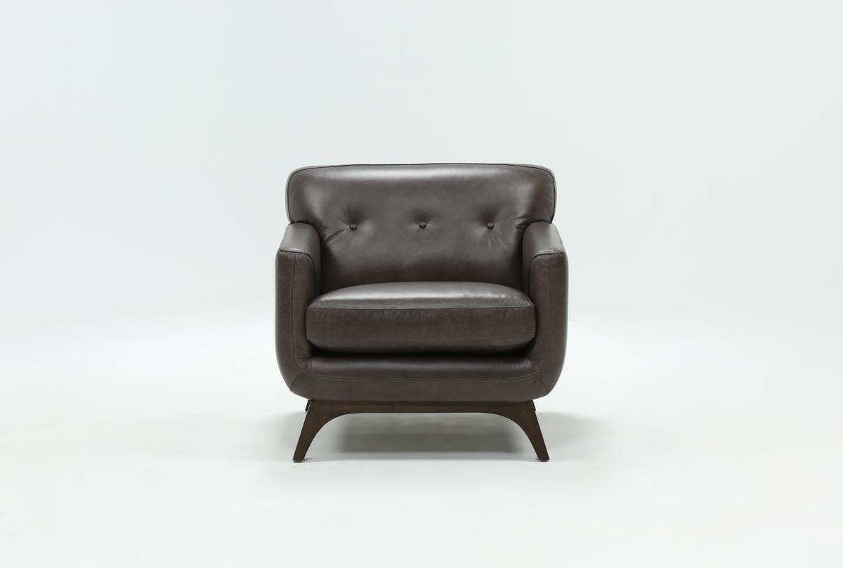 Cosette Leather Chair | Living Spaces Within Caressa Leather Dark Grey Sofa Chairs (Image 17 of 25)