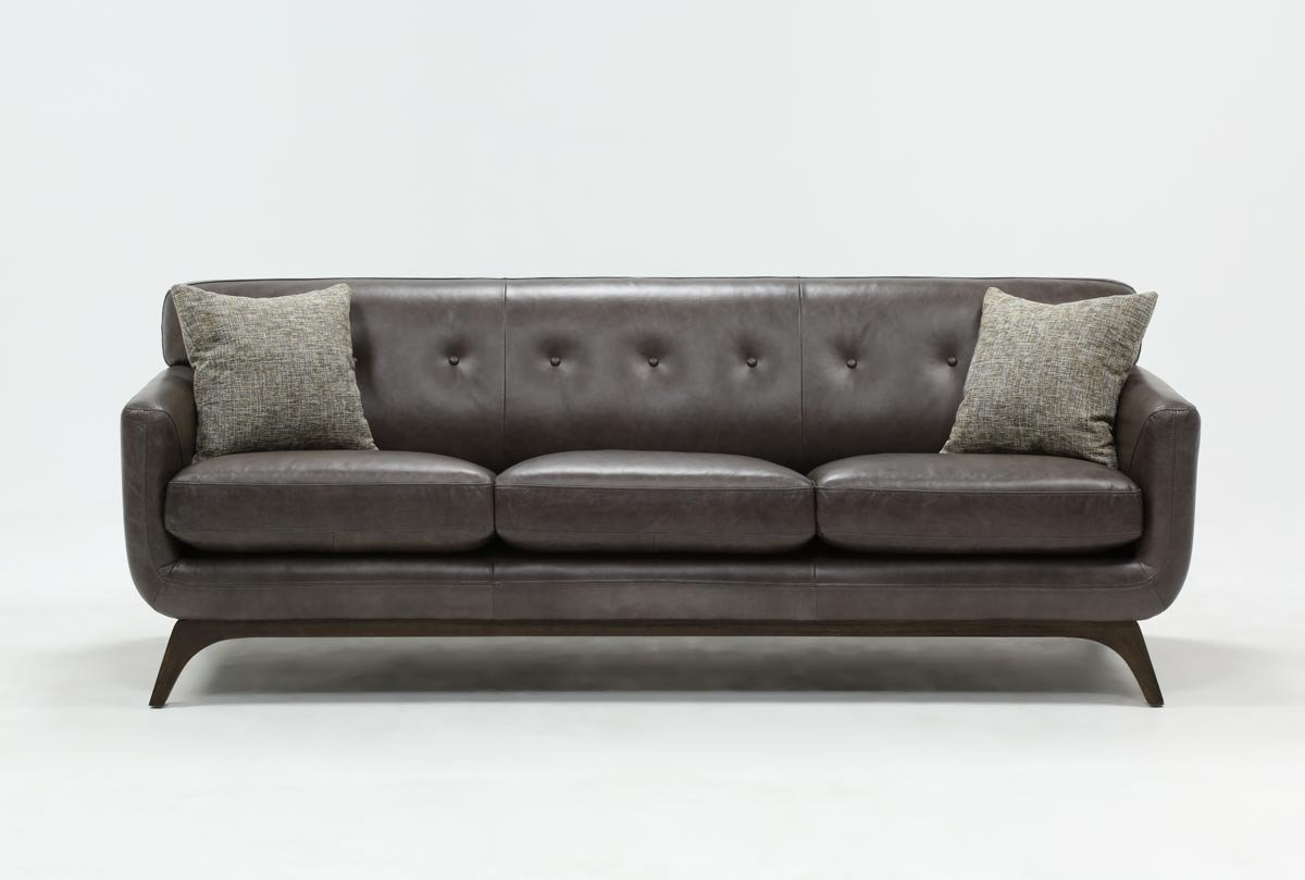 Cosette Leather Sofa | Living Spaces Regarding Caressa Leather Dark Grey Sofa Chairs (Image 18 of 25)