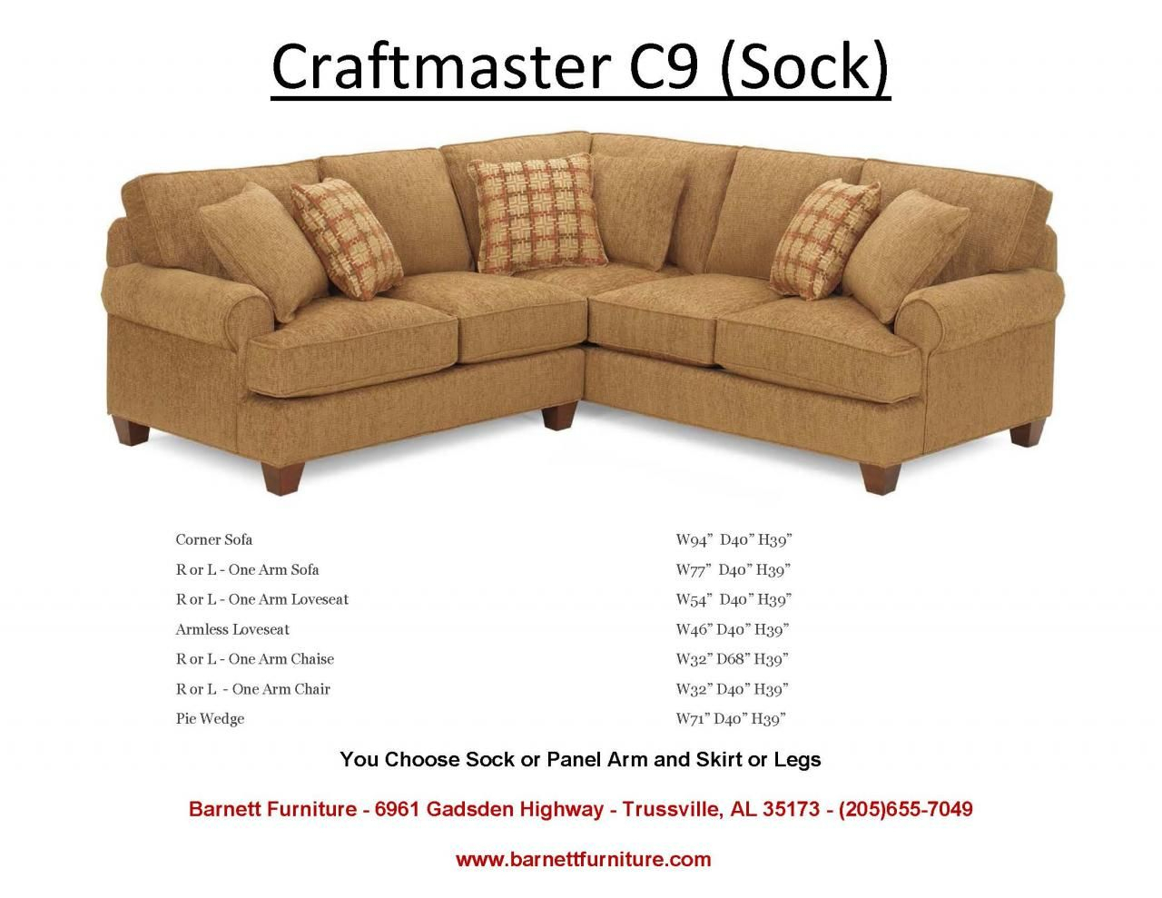 Craftmaster C9 Sectional With Sock Arm And Turned Leg (View 15 of 25)