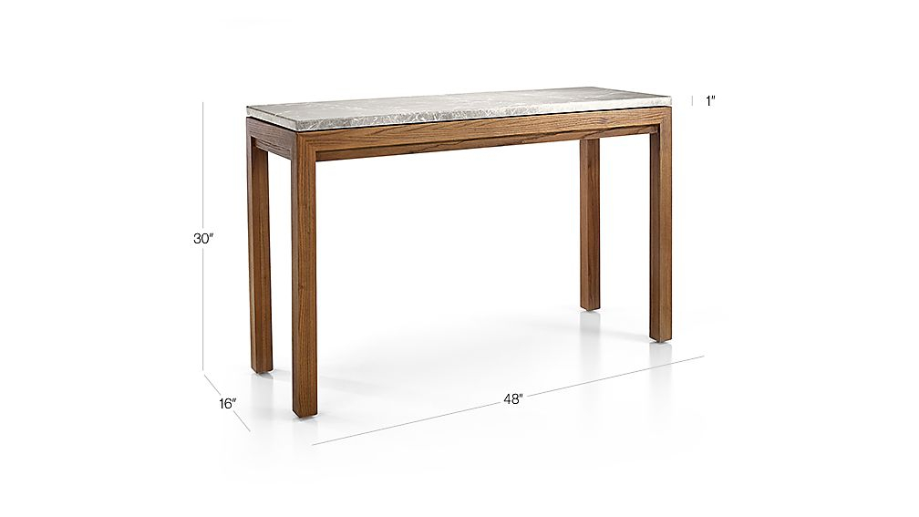 Featured Image of Parsons Grey Marble Top & Elm Base 48X16 Console Tables