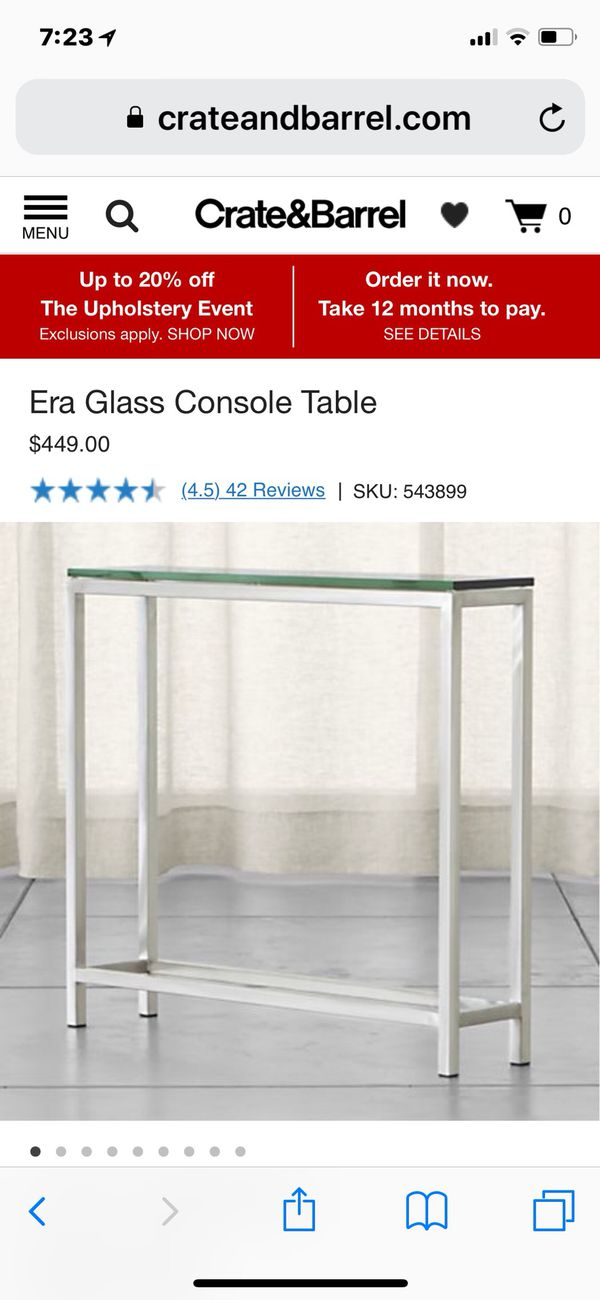 Crate & Barrel Console Table For Sale In Charlotte, Nc – Offerup With Most Recent Era Glass Console Tables (Image 5 of 25)