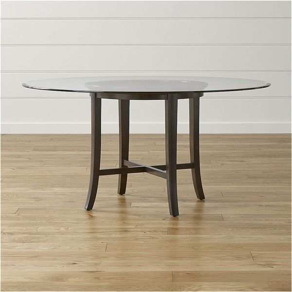 """Crate & Barrel Halo Ebony Round Dining Table With 60"""" Glass Top Intended For Recent Parsons Walnut Top & Elm Base 48X16 Console Tables (Image 5 of 25)"""
