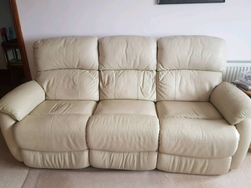 Cream Leather Dfs 3 Seater Sofa And Arm Chair | In Plymouth, Devon Within Devon Ii Arm Sofa Chairs (View 4 of 25)
