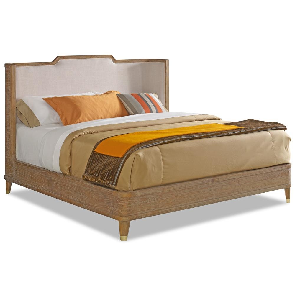 Cullen Modern Classic Brown Teak Cream Linen Bed – Queen | Kathy Kuo With Regard To Quinn Teak Sofa Chairs (Image 2 of 25)