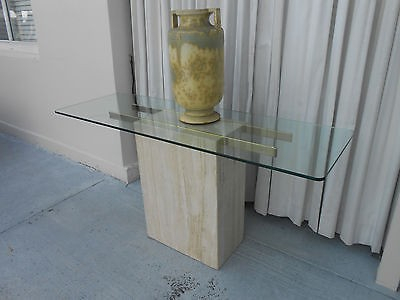 Current Era Glass Console Tables Within Mid Century Modern Italian Travertine & Glass Console Table,ello (Image 8 of 25)