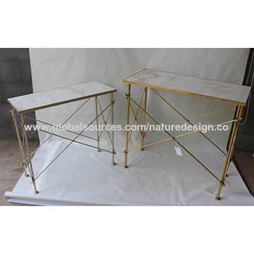Current Frame Console Tables Pertaining To China Rectangular Console Tables/gold Metal Frame/white Marble Table (Image 8 of 25)
