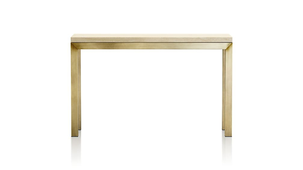 Current Parsons Travertine Top & Stainless Steel Base 48X16 Console Tables Regarding Parsons Travertine Top/ Brass Base 48X16 Console + Reviews (Image 6 of 25)