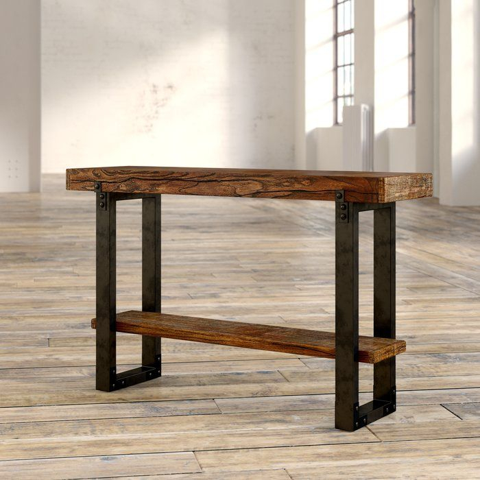 Current Parsons Walnut Top & Dark Steel Base 48X16 Console Tables Intended For Diandra Console Table In (View 11 of 25)