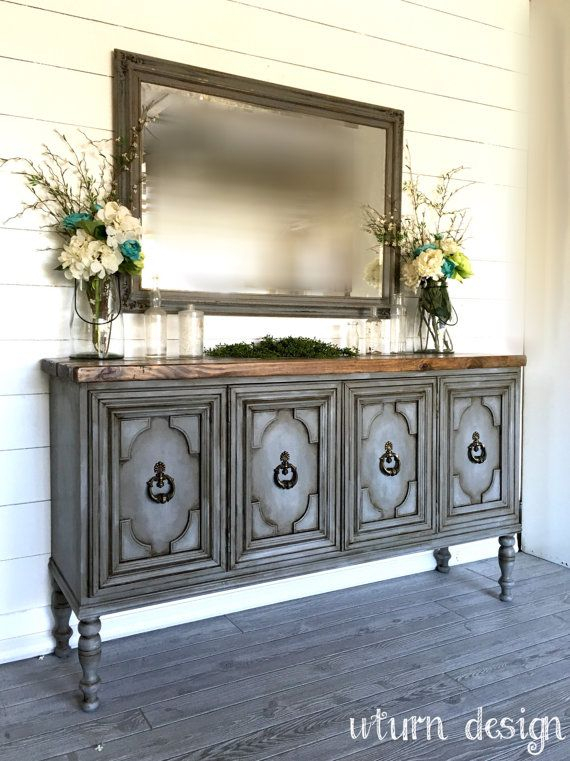 Current Sideboard Tv Stands With Sold!! Painted Grey Buffet/ Entryway Table/ Sideboard/ Tv Stand (View 21 of 25)