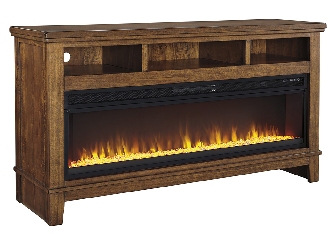 Current Wide Tv Cabinets Inside Sparks Furniture Ralene Medium Brown Extra Large Tv Stand W/fireplace (Image 9 of 25)