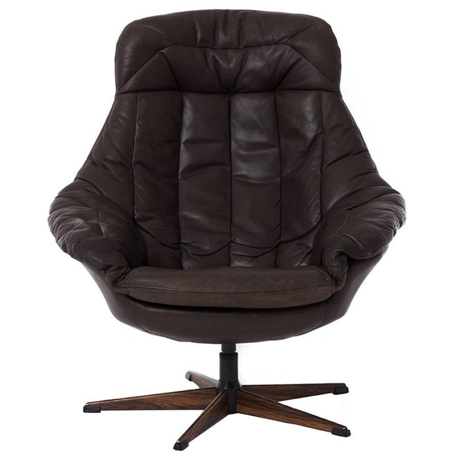 Danish Modern Swivel Glove Chair In Espresso Leatherh. W. Klein throughout Espresso Leather Swivel Chairs