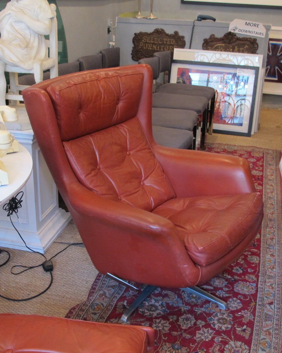 Danish Red Leather Swivel Recliner Armchair And Footstool Img Throughout Amala Bone Leather Reclining Swivel Chairs (View 21 of 25)