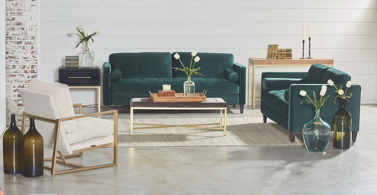 Dapper Sofa – Magnolia Home With Magnolia Home Dapper Fog Sofa Chairs (Image 6 of 25)