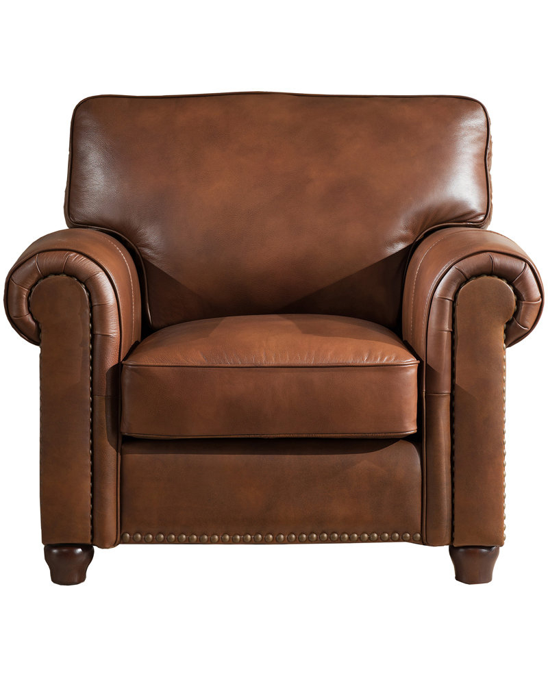 Darby Home Co Kiaan Armchair & Reviews | Wayfair With Regard To Gina Blue Leather Sofa Chairs (Image 8 of 25)