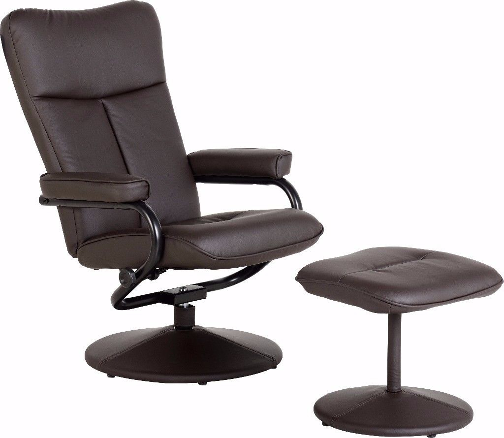 Dark Espresso Brown Faux Leather Recliner, Swivel Chair With In Espresso Leather Swivel Chairs (View 11 of 25)